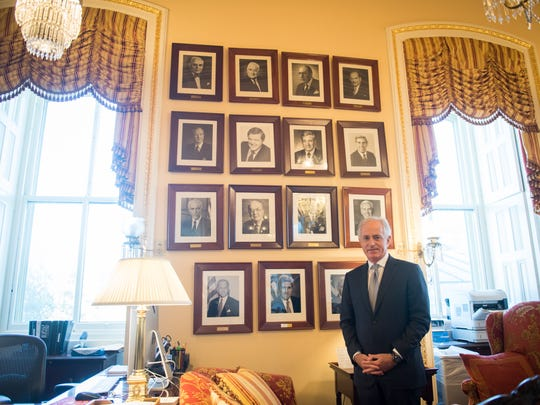 Sen. Bob Corker stands in the offices of the Foreign Relations Committee in the U.S. Capitol. As chairman of the Senate Foreign Relations Committee, he's pushed to hold foreign governments accountable for adverse actions — including Russia over election interference and later Saudi Arabia for its role in the murder of a Washington Post columnist.