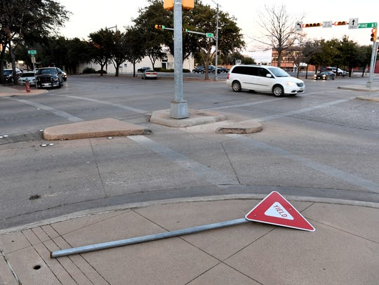 """What kind of commentary does a fallen """"yield"""" sign make at an intersection? I don't know, but when I saw it Jan. 9, it struck my funny bone."""