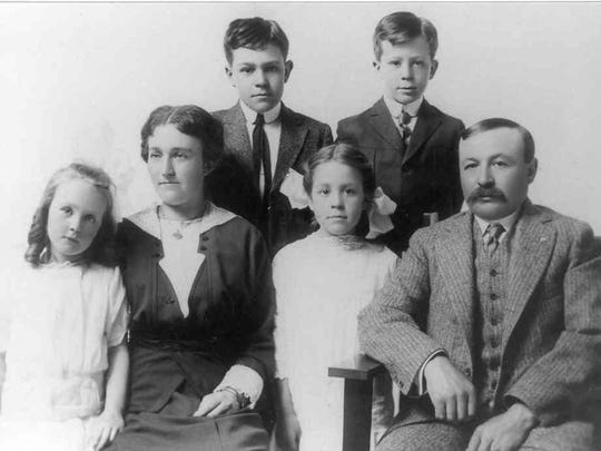 The Wortheim Family, ancestors ofMary Jo Giroux Brace'sGerman line. Hazel was Mary Jo's maternal grandmother. From left, front row, Helen, Nellie, Hazel and Abe; back row, Henry and Arthur. Also included are the German birth records of Abraham Wertheim and Johanna Wertheim. Sara was added to Johanna's name as required by German law for Jewish women in 1938.
