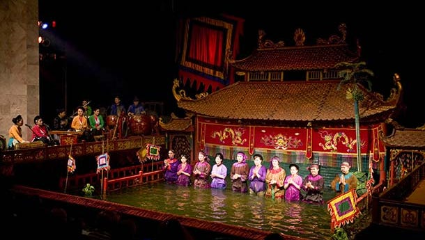 Water puppet theatre is popular entertainment for grownups as much as kids - and you won't get wet.