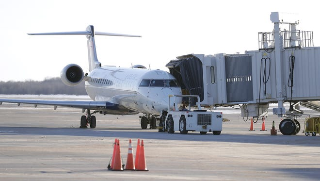 A Delta Airlines flight is serviced at Green Bay Austin Straubel International Airport.