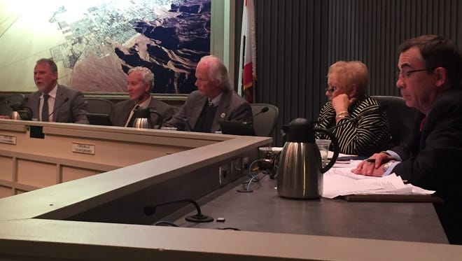 The current Palm Springs City Council: J.R. Roberts, Geoff Kors, Chris Mills, Ginny Foat and Mayor Rob Moon.