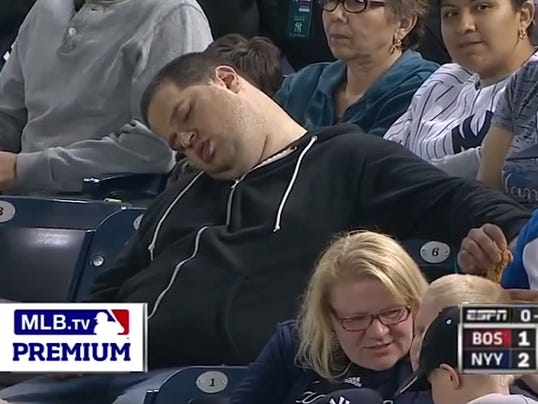 mlb sleeping fan