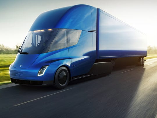 The Tesla Semi battery-electrick semi truck.