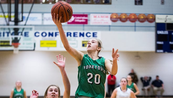 Yorktown's Carley Culberson shoots past Delta's defense during the county championship game last season.
