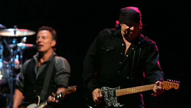 Steven Van Zandt (right) and Bruce Springsteen are shown during the Giants Stadium concert in 2009.