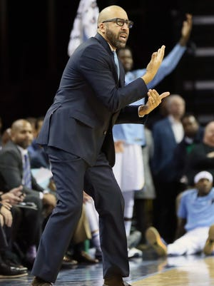 Nov 22, 2017; Memphis, TN, USA; Memphis Grizzlies head coach David Fizdale reacts to a call in the game against the Dallas Mavericks at FedExForum. Dallas won 95-94.