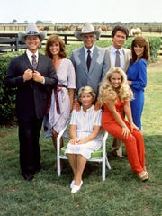 'Dallas' stars, standing from left, Larry Hagman, Linda
