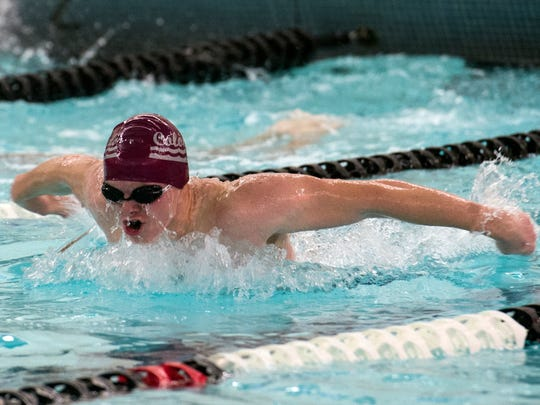 Swimmers compete during New Oxford's senior night against South Western, Thursday, Jan. 4, 2018. The South Western Mustangs beat the New Oxford Colonials, 121-59 for the boys; 104-79 for the girls.