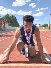 A sophomore sprinter at the time, Cesar Chavez won the 100m dash at the New Mexico Class 5A State Track and Field Championships in May in Albuquerque. Chavez broke the tape in 10.76. Chavez ran a personal-best 10.74 to finish fourth at the 2018 Greater Southwest Track and Field Classics last weekend.