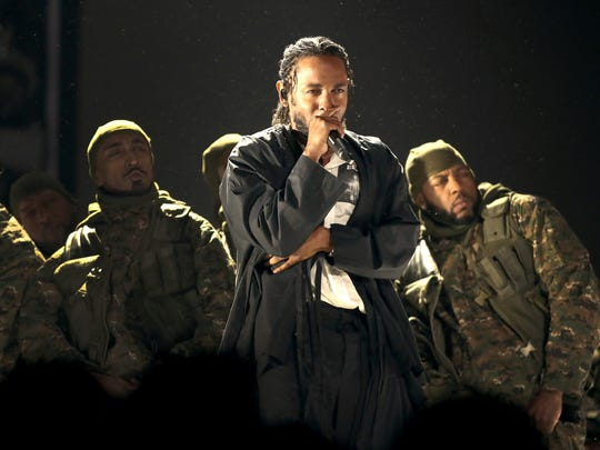 Kendrick Lamar performs onstage during the 60th Annual GRAMMY Awards at Madison Square Garden on Jan. 28, 2018, in New York City.