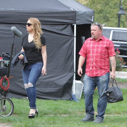 "Mariah Carey is spotted on the set for ""A Christmas"