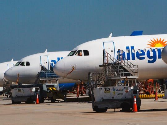 Allegiant Air airplanes sit at the Punta Gorda Airport.