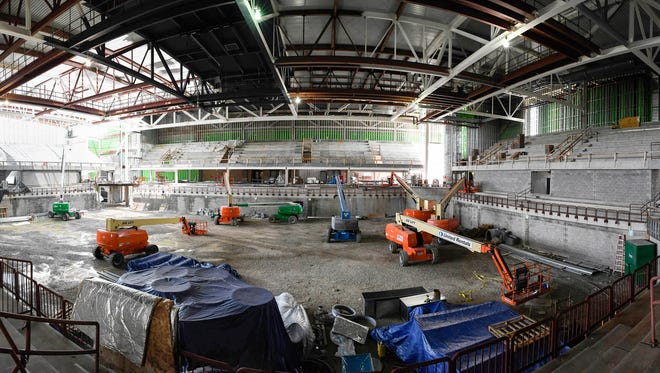 A panoramic image, stitched together from several photos, to show the interior of University of Southern Indiana's new athletic arena under construction on the school's campus Wednesday. School officials say the facility won't be open till January of next year, August 1, 2018.