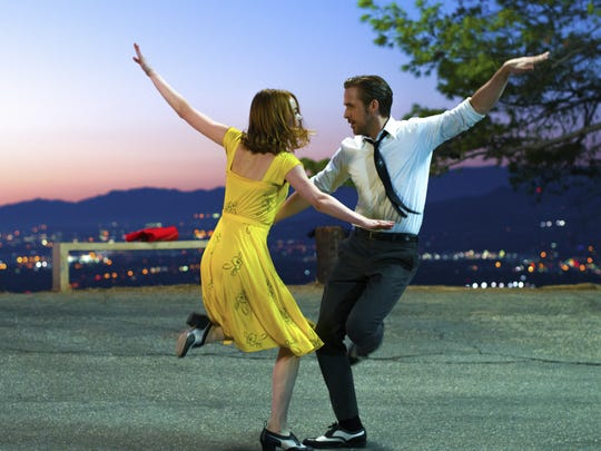 Emma Stone and Ryan Gosling appear in a scene from