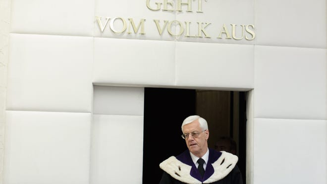 President of the Austrian Constitutional Court (VFGH) Gerhart Holzinger arrives ahead of the announcement of the verdict on result of Austrian Presidential election run-off at the Austrian Constitutional Court in Vienna, Austria, July 1, 2016.
