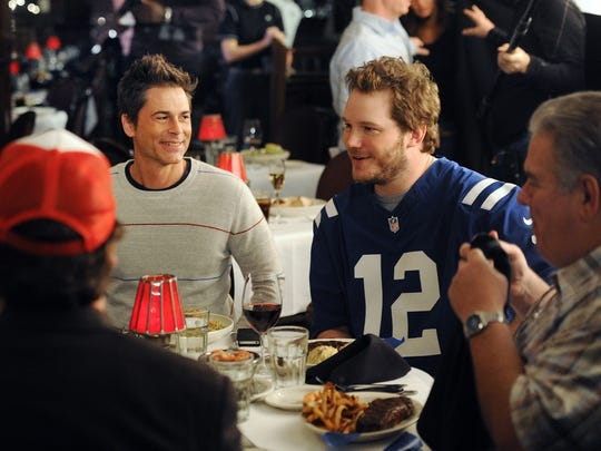 "Rob Lowe, Chris Pratt and Jim O'Heir prepare to shoot a ""Parks and Recreation"" scene at St. Elmo Steak House."