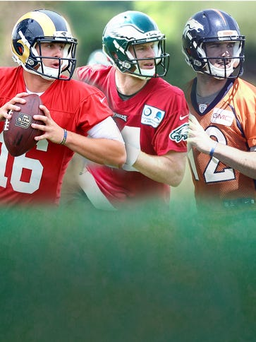 (From left) Rookie QBs Jared Goff, Carson Wentz and
