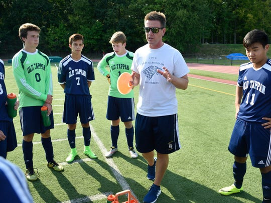NV/Old Tappan coach Mark Torrie speaks to his team
