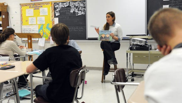 Teacher Michelle Waters conducts a sixth-grade math