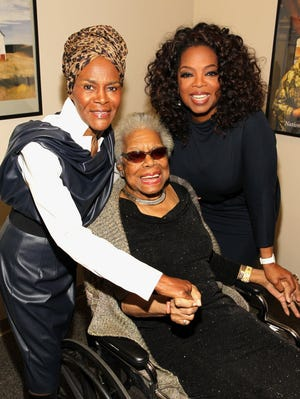 Oprah Winfrey will be one of the speakers at today's memorial service for poet Maya Angelou (seated).