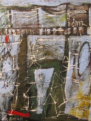 "Erin McGee Ferrell's  ""Crescent Court II ""  in the exhibit ""My Kentucky Home"" at B. Deemer Gallery."