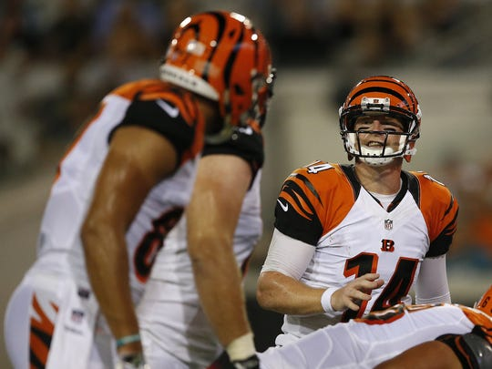 Cincinnati Bengals quarterback Andy Dalton  instructs the team at the line of scrimmage. A lot of the Bengals offense is in his hands as he moves players into varied formations.