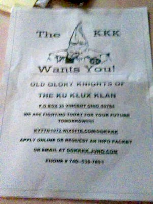 A Ku Klux Klan leaflet handed out Wednesday in Winchester, Aug. 24, 2016.