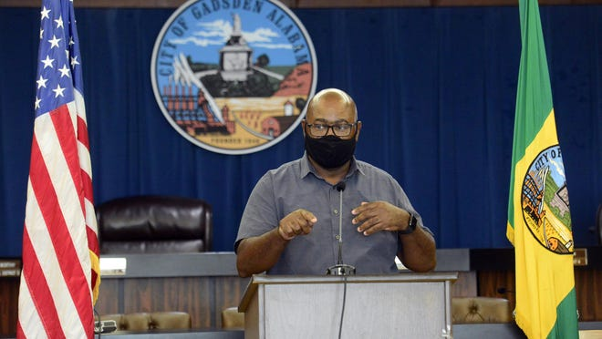 Gadsden City Council member Thomas Worthy speaks during a press conference encouraging mask use on Thursday.