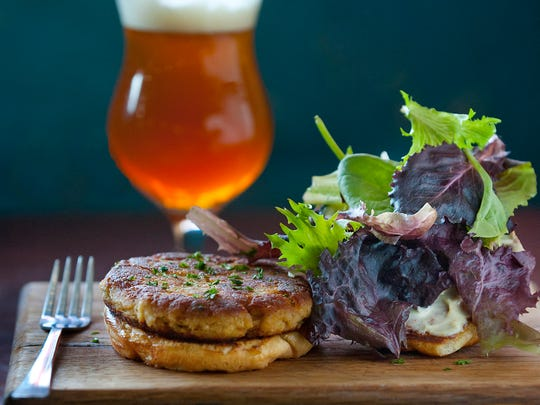 Hammerheads' crab cake sandwich with jalapeno-lime