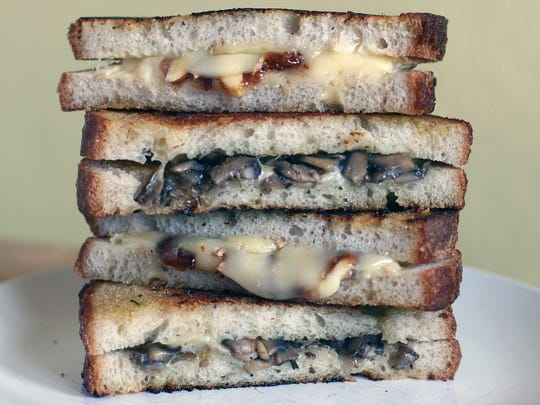 Gruyère Grilled Cheese with Mushrooms and Honey Chive