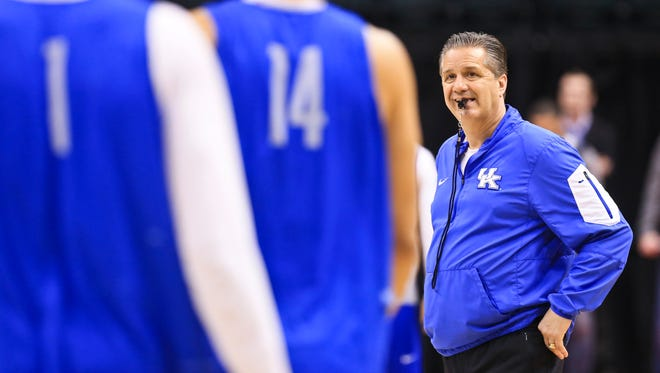 """Kentucky's John Calipari tells his team """"Don't be afraid to lose,"""" he said. """"Don't be afraid to miss shots. Don't be afraid to be aggressive. Go for it. Play to win. Don't think of anything else. Forget about score. Just keep playing to win. If that's not good enough, it's been a heck of a season."""""""