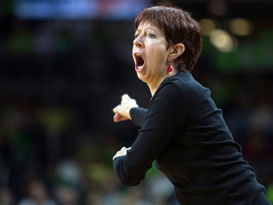 FILE - In this Dec. 9, 2015, file photo, Notre Dame head coach Muffet McGraw directs her players during the first half of an NCAA college basketball game against DePaul in South Bend, Ind. McGraw has built Notre Dame into one of the elite women's basketball programs during her 29 years at the school. Now she's on the brink of reaching another coaching milestone, 800 victories, and doesn't show any signs of slowing down anytime soon.  (AP Photo/Robert Franklin, File)