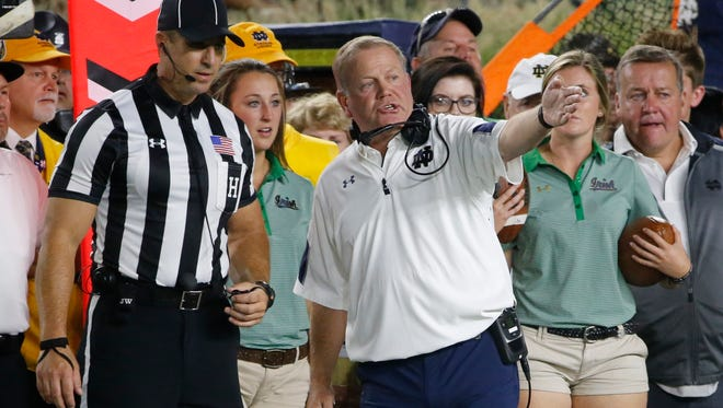 Notre Dame coach Brian Kelly in a calmer moment.