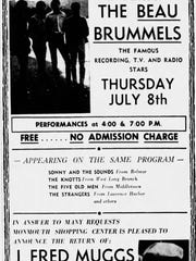 Advertisement for appearances by The Beau Brummels and J. Fred Muggs at Monmouth Shopping Center in 1965.
