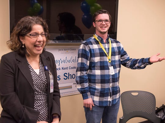 Associate Dean of Advising and Partnership Laurie Kattuah-Snyder reacts to Elis Sholla's comments.