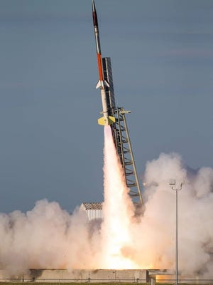 A Terrier Improved-Malemute suborbital rocket takes off Wednesday, Aug. 17, at Wallops Flight Facility.