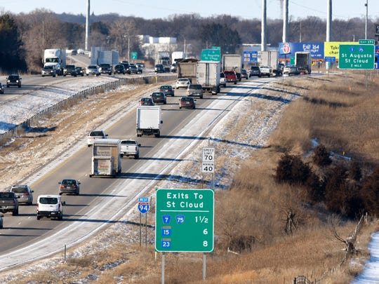 Traffic move along Interstate 94 during the afternoon rush hour Friday Feb. 12, near St. Cloud.