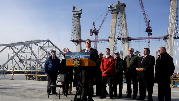 Gov. Andrew Cuomo speaks as he and other officials mark the completion of the concrete towers of the new Tappan Zee Bridge on Dec. 13, 2016.