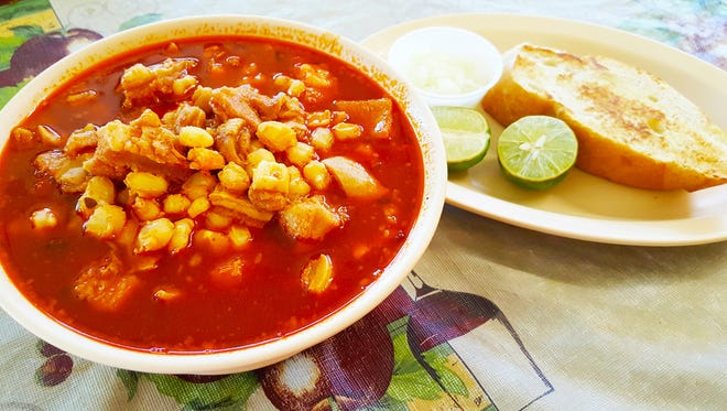 Bravo's Cafe serves menudo daily — small ($5.75) or large ($7) bowl — with a side of buttered bread, lime and onion.
