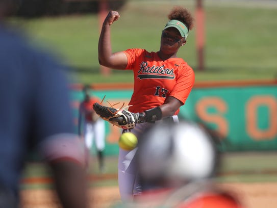 FAMU's Kyaira Brown pitches during the first game of