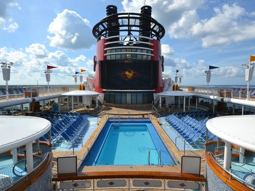 The hub of Disney Wonder's top deck is its family-friendly
