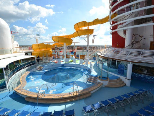 Located just aft of Disney Wonder's two funnels on