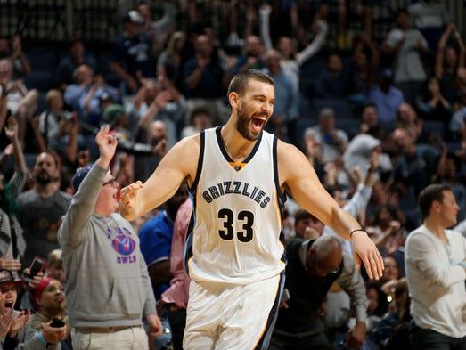 Memphis Grizzlies Marc Gasol celebrates his three point