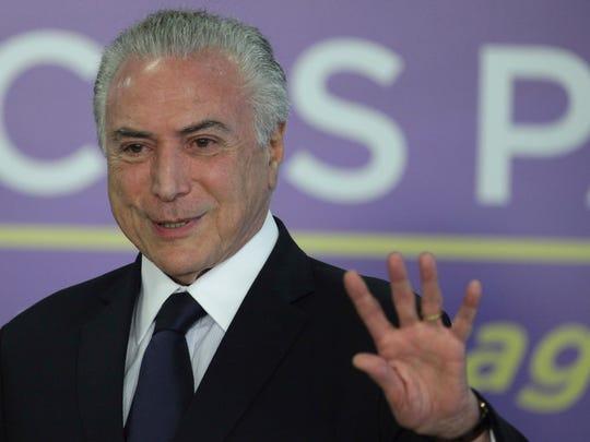 Brazil's President Michel Temer  is pictured speaking