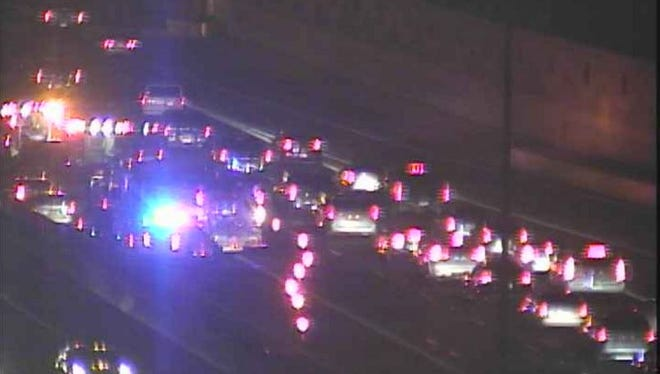 Southbound traffic on I-17 near Greenway Road shortly after a crash involving a motorcycle Friday night.