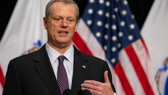 In a June 3, 2020, photo, Massachusetts Gov. Charlie Baker speaks during a press conference at the State House.