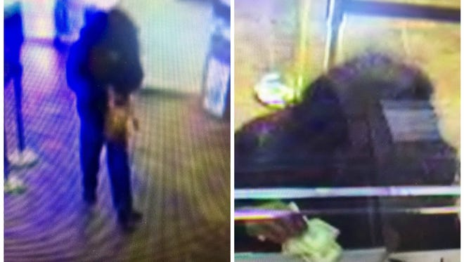 Blurry security photos of the alleged bank robber
