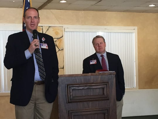 Lincoln County Medical Center Director of Patient Support Operations Brad Treptow and Administrator Todd Oberheu shared plans for construction of the new Presbyterian Hospital facility.