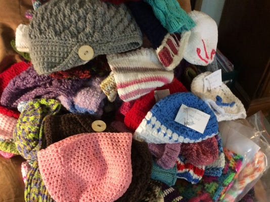 This is what 110 hats looks like. We've delivered about 310 hats to JFK Medical Center and 175 to Steeplechase Cancer Center, and I have more at the office to deliver this week.
